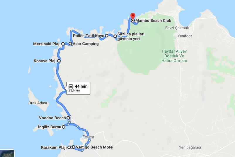 Foça denize girilecek yerler harita
